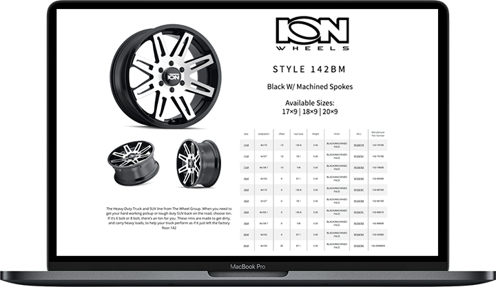 Wheel library and wheel catalog data.